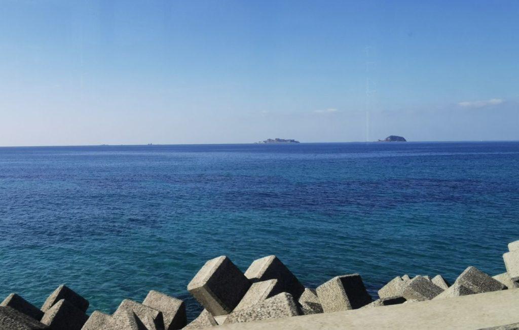 のもざき水仙まつりアクセスで見える軍艦島その1